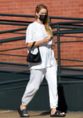 Jennifer Lawrence keeps it comfy in a white t-shirt and sweatpants while on a stroll in New York City