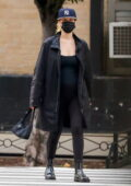 Jennifer Lawrence shows her baby bump in all-black jacket, top and leggings while running a few errands in New York City