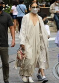 Jennifer Lopez looks stylish in all-beige ensemble while out shopping with her kids at The Grove in Los Angeles