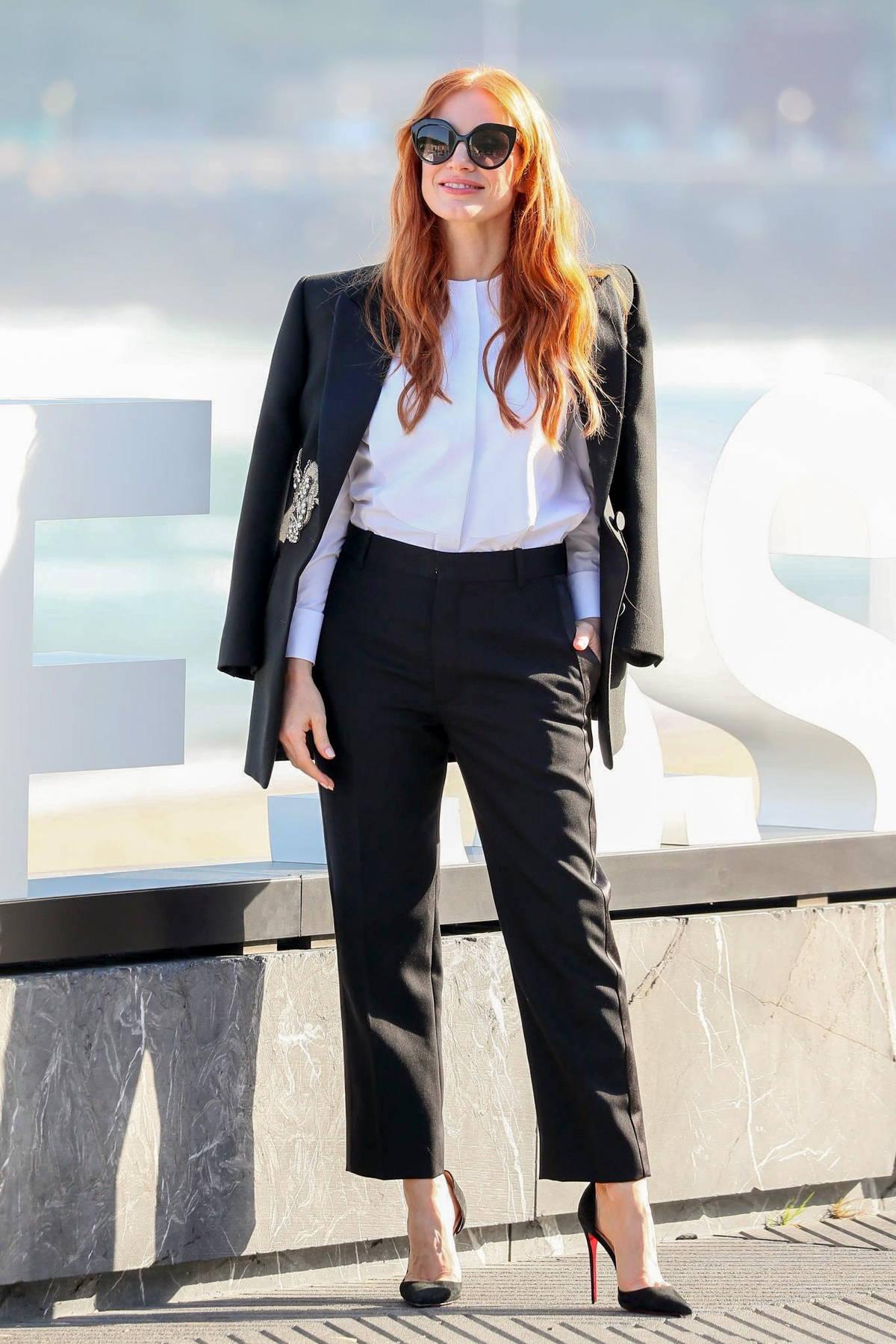 Jessica Chastain attends a photocall for 'The Eyes of Tammy Faye' during San Sebastian International Film Festival in San Sebastian, Spain