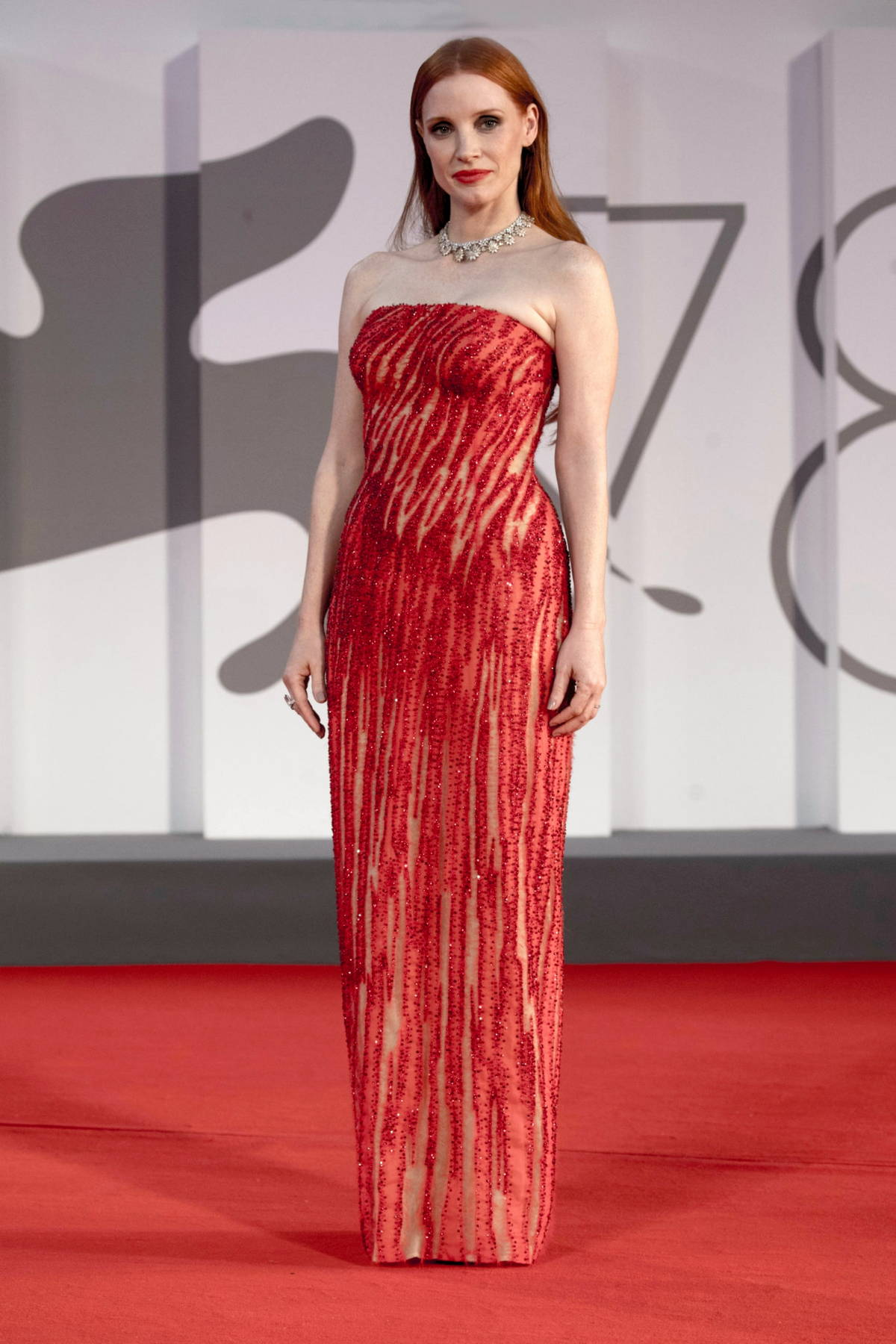 Jessica Chastain attends the Premiere of 'Scenes From A Marriage' during the 78th Venice International Film Festival in Venice, Italy