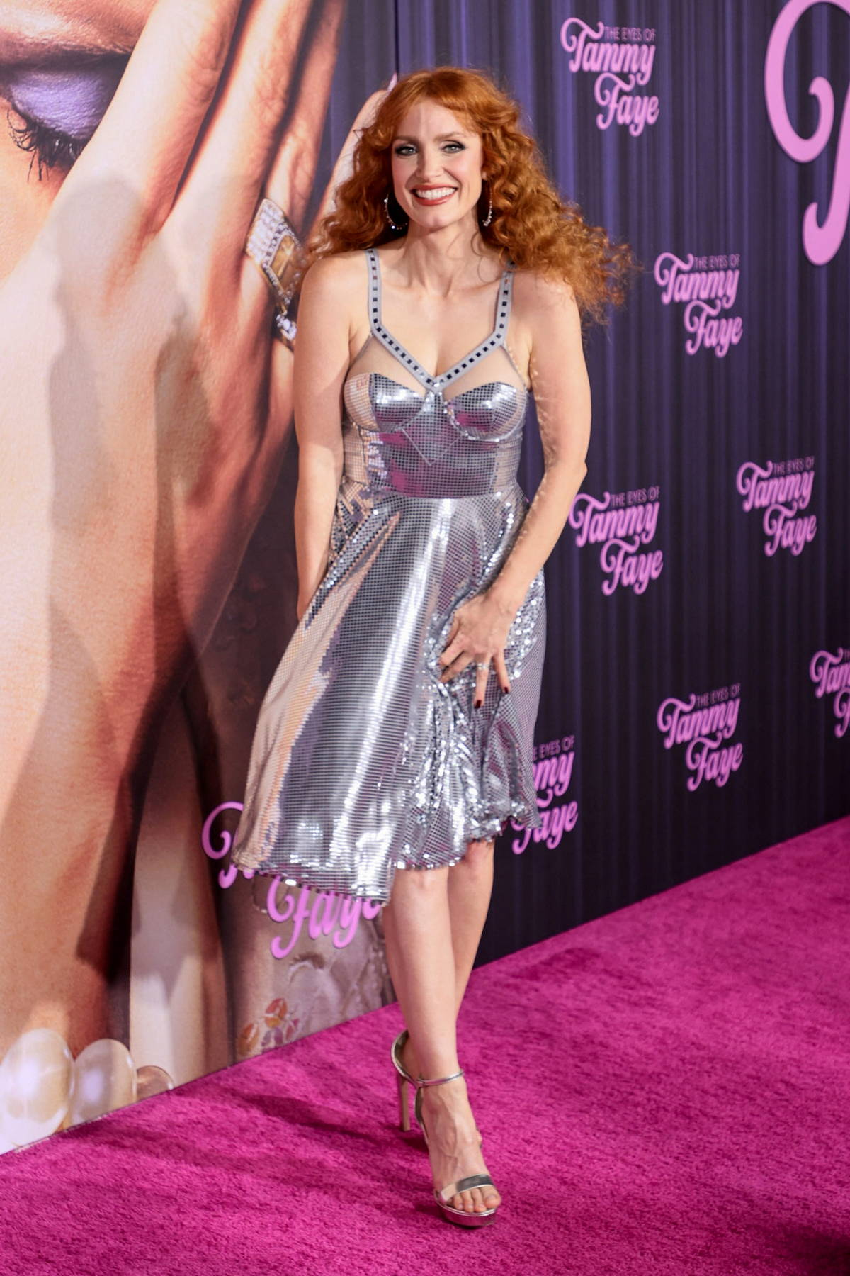 Jessica Chastain attends the Premiere of 'The Eyes Of Tammy Faye' at SVA Theater in New York City