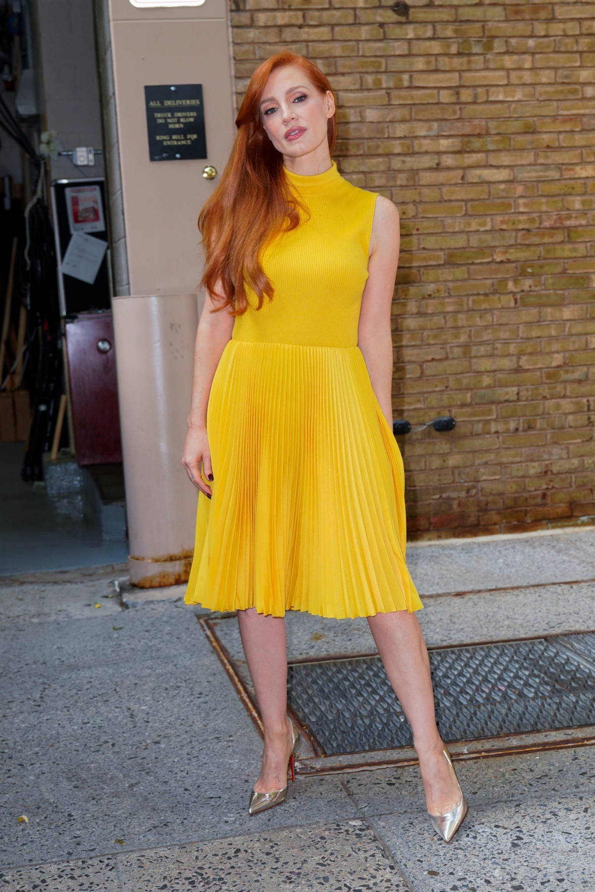 Jessica Chastain looks radiant in a yellow dress while stepping out in Soho, New York City