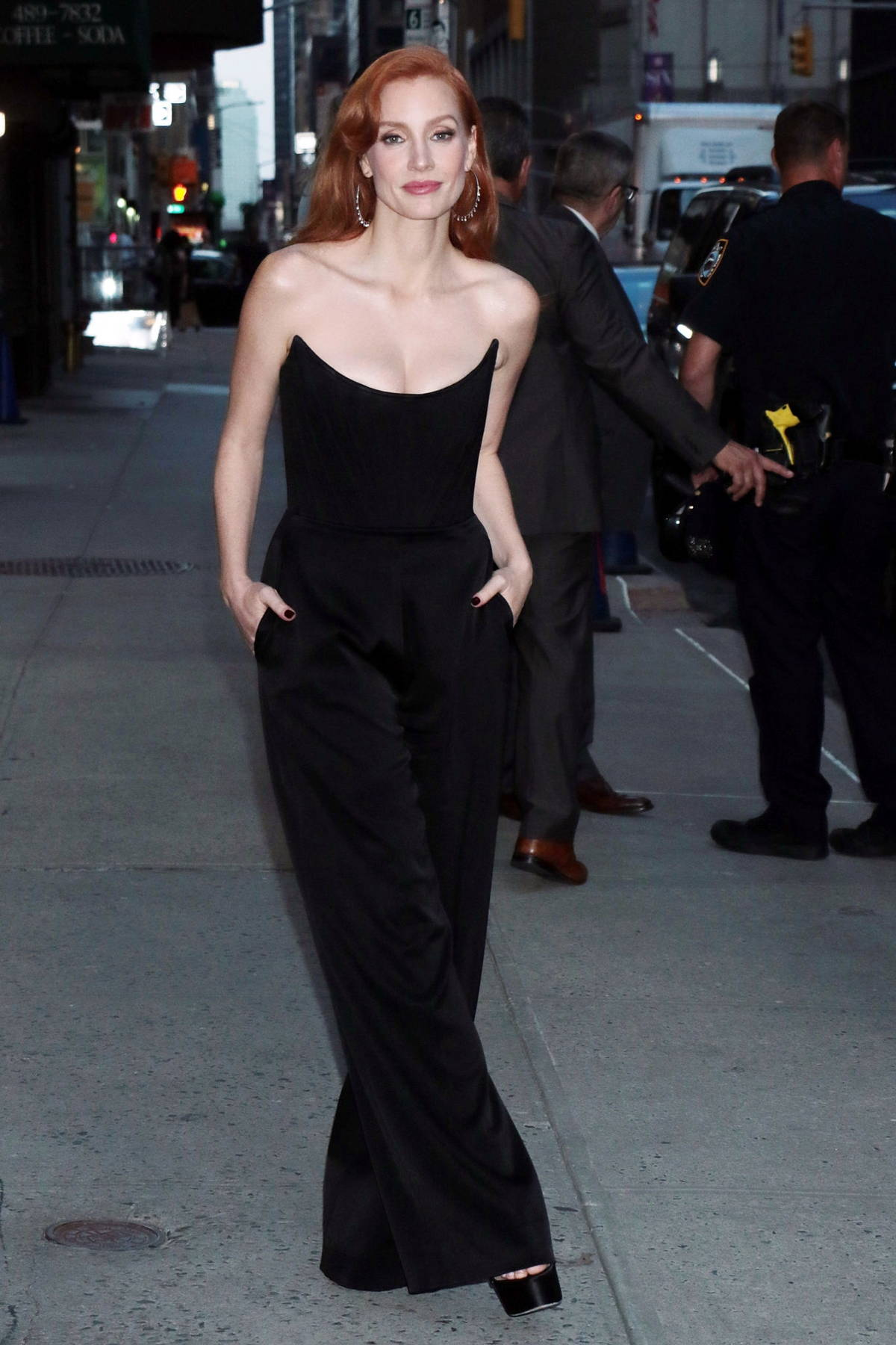 Jessica Chastain looks stunning in a black jumpsuit while out in New York City