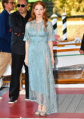 Jessica Chastain looks stunning in a blue dress while arriving at the 78th Venice International Film Festival in Venice, Italy