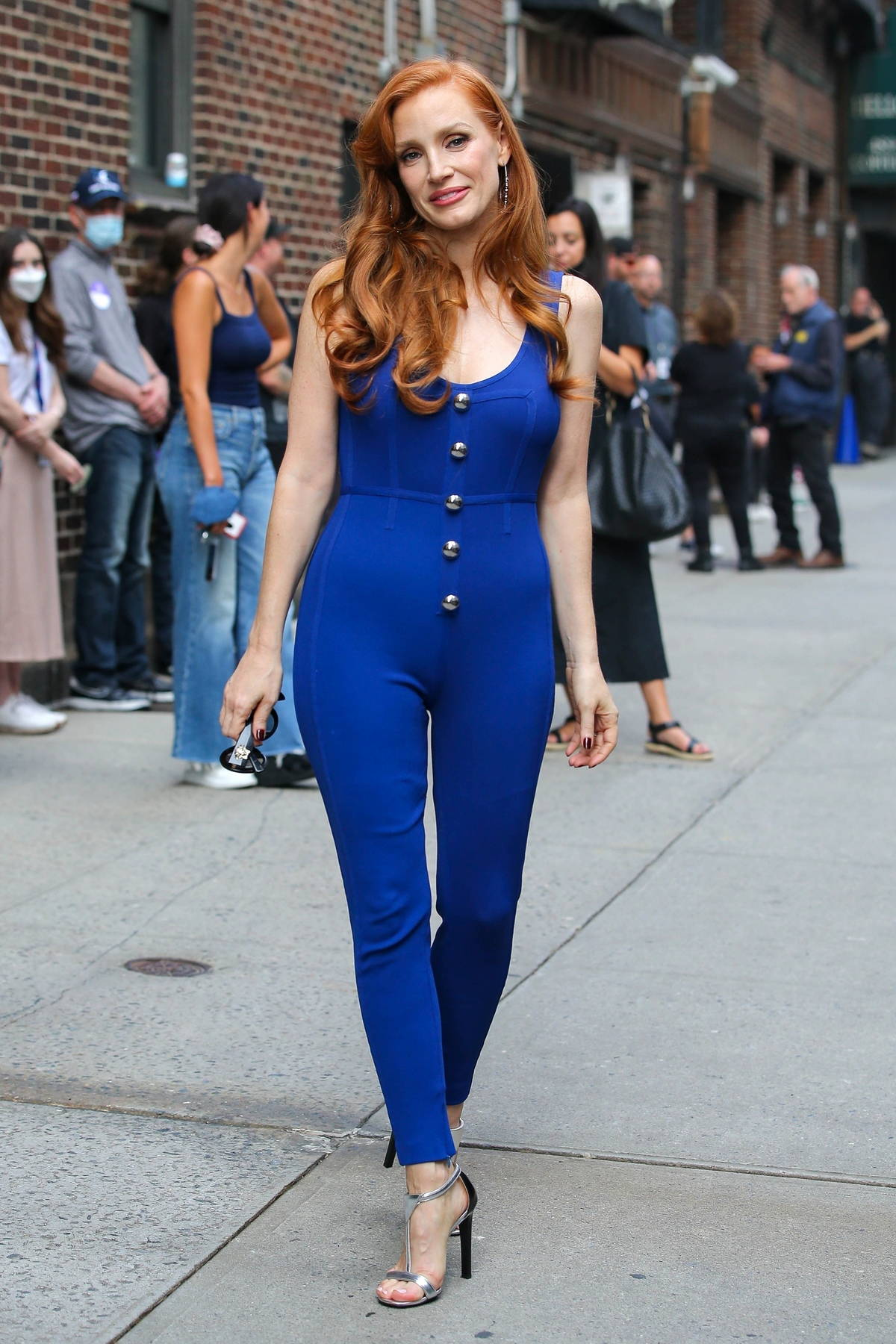 Jessica Chastain looks stylish in a blue jumpsuit as she arrives at 'The Late Show With Stephen Colbert' in New York City
