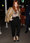 Jessica Chastain looks stylish in animal print during a dinner outing in New York City