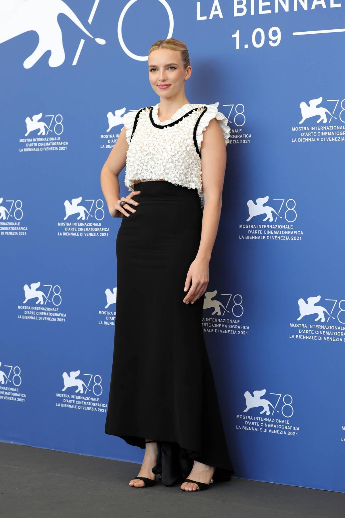 Jodie Comer attends the photocall for 'The Last Duel' during the 78th Venice International Film Festival in Venice, Italy