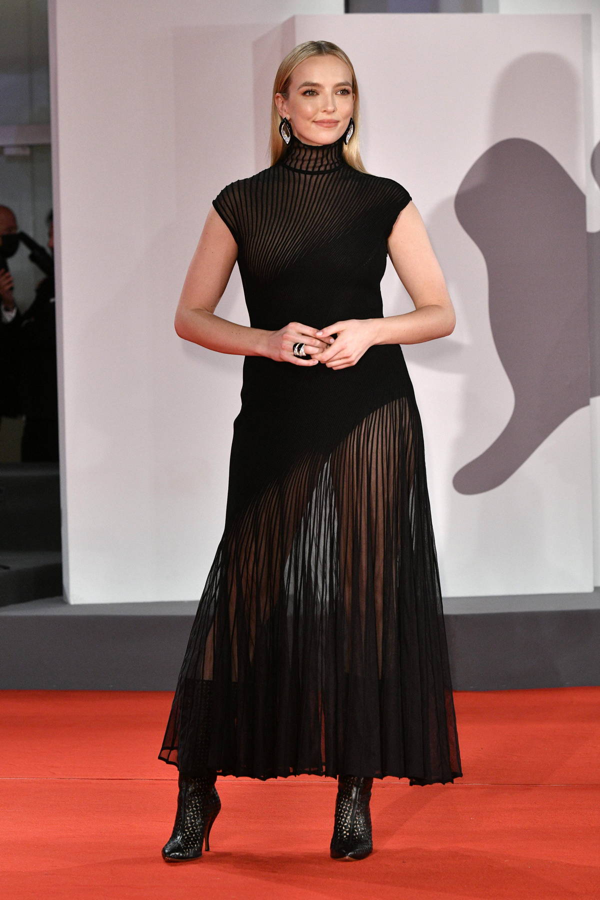 Jodie Comer attends the Premiere of 'The Last Duel' during the 78th Venice International Film Festival in Venice, Italy