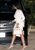 Jordyn Woods dons a white bodycon dress during a dinner date with Karl Anthony Towns at Nobu in Malibu, California