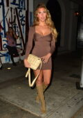Kara Del Toro looks gorgeous in a brown mini dress during a dinner outing at Craig's in West Hollywood, California
