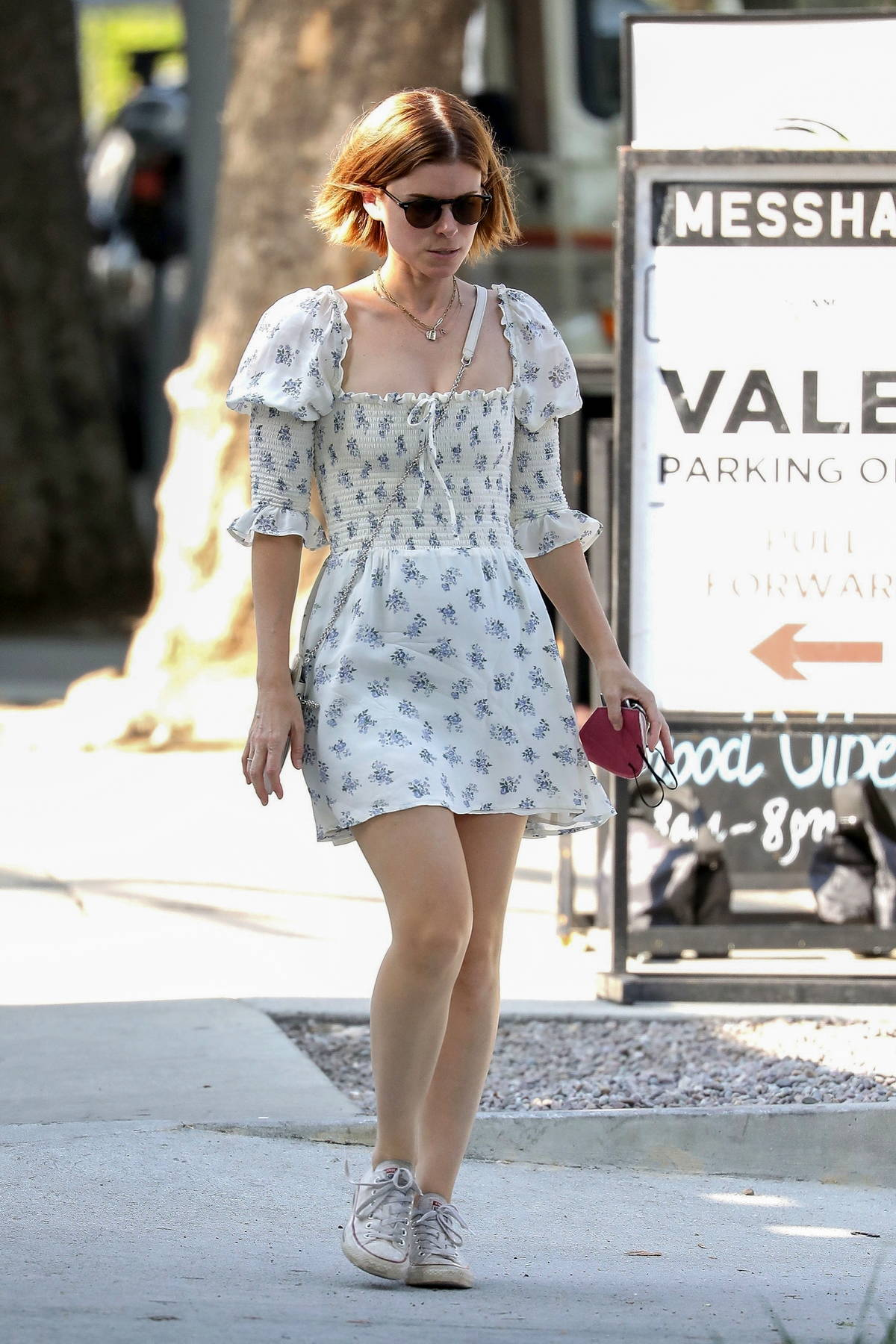Kate Mara looks lovely in a floral white dress as she leaves after lunch at Little Dom's restaurant in Los Feliz, California