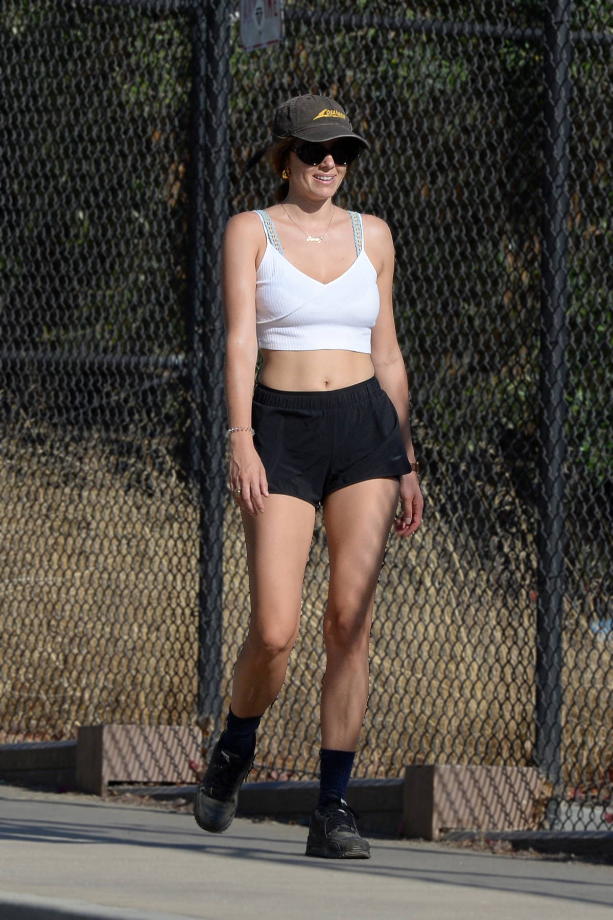 Keeley Hazell shows off her stunning figure in a crop top and shorts while out for a hike in Los Angeles