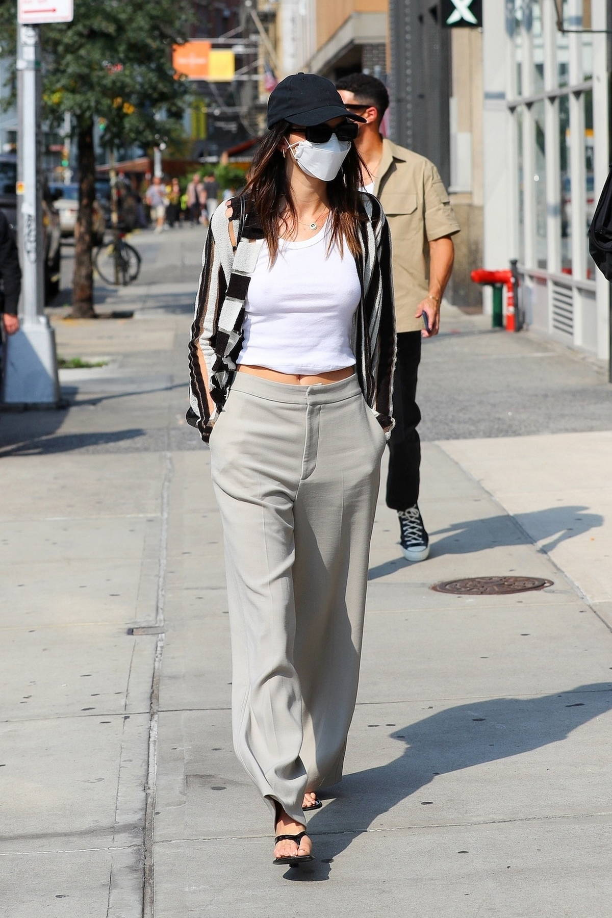 Kendall Jenner steps out for lunch with boyfriend Devin Booker and Fai Khadra in SoHo, New York City