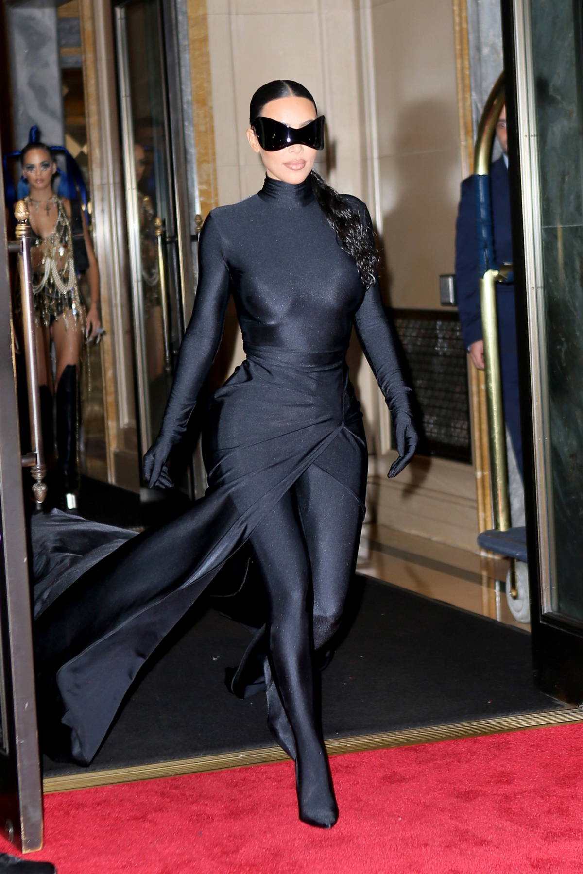 Kim Kardashian showcases her all-black futuristic look while heading out for a Met Gala after-party in New York City