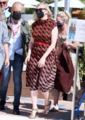 Kirsten Dunst looks great in a patterned dress while arriving at the 78th Venice International Film Festival in Venice, Italy