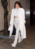 Kylie Jenner wears designer sweats with a matching duster while out for dinner at Nobu in New York City