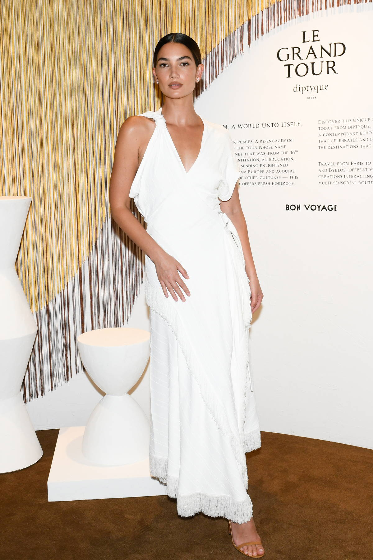 Lily Aldridge attends Diptyque's Le Grand Tour Opening Event in New York City