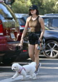 Lucy Hale sports an animal print tank top and black shorts while out for a hike with her dog in Studio City, California