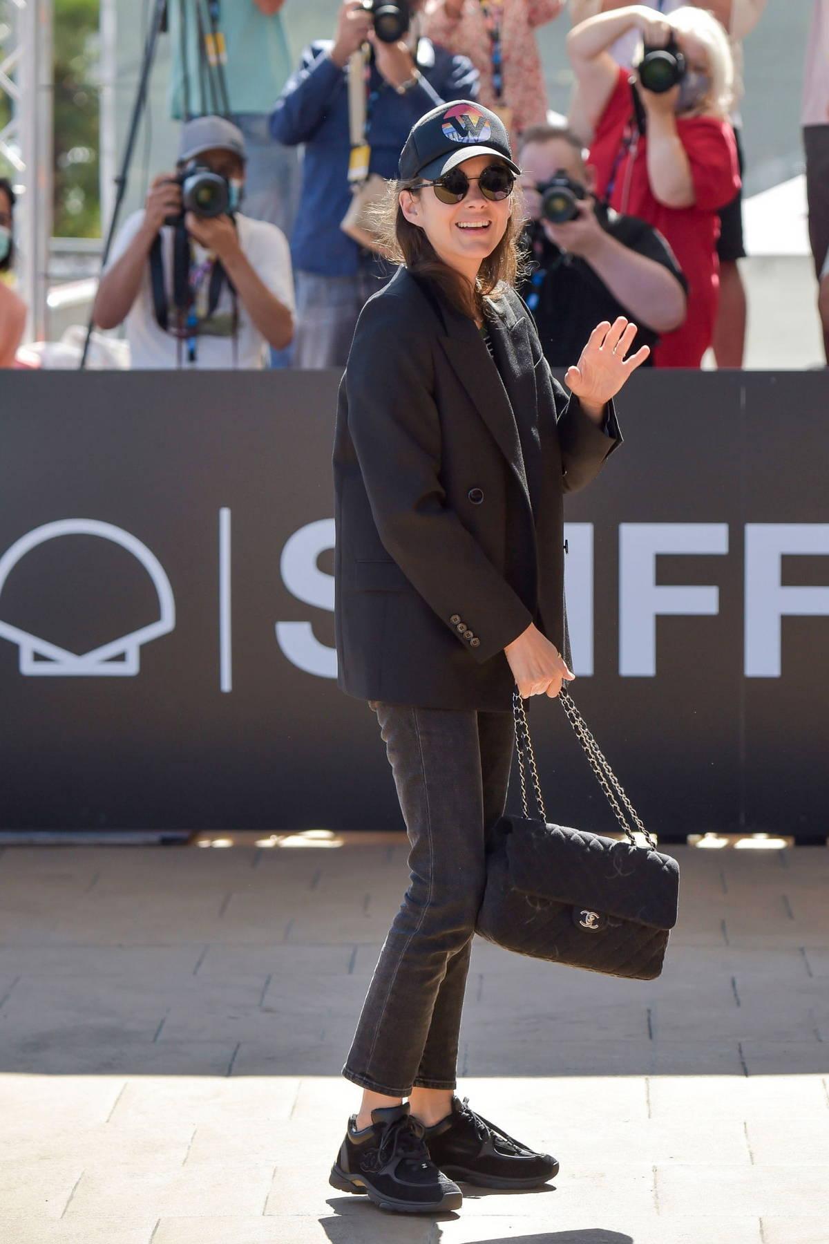 Marion Cotillard arrives at the Maria Cristina Hotel during the 69th San Sebastian International Film Festival in San Sebastian, Spain