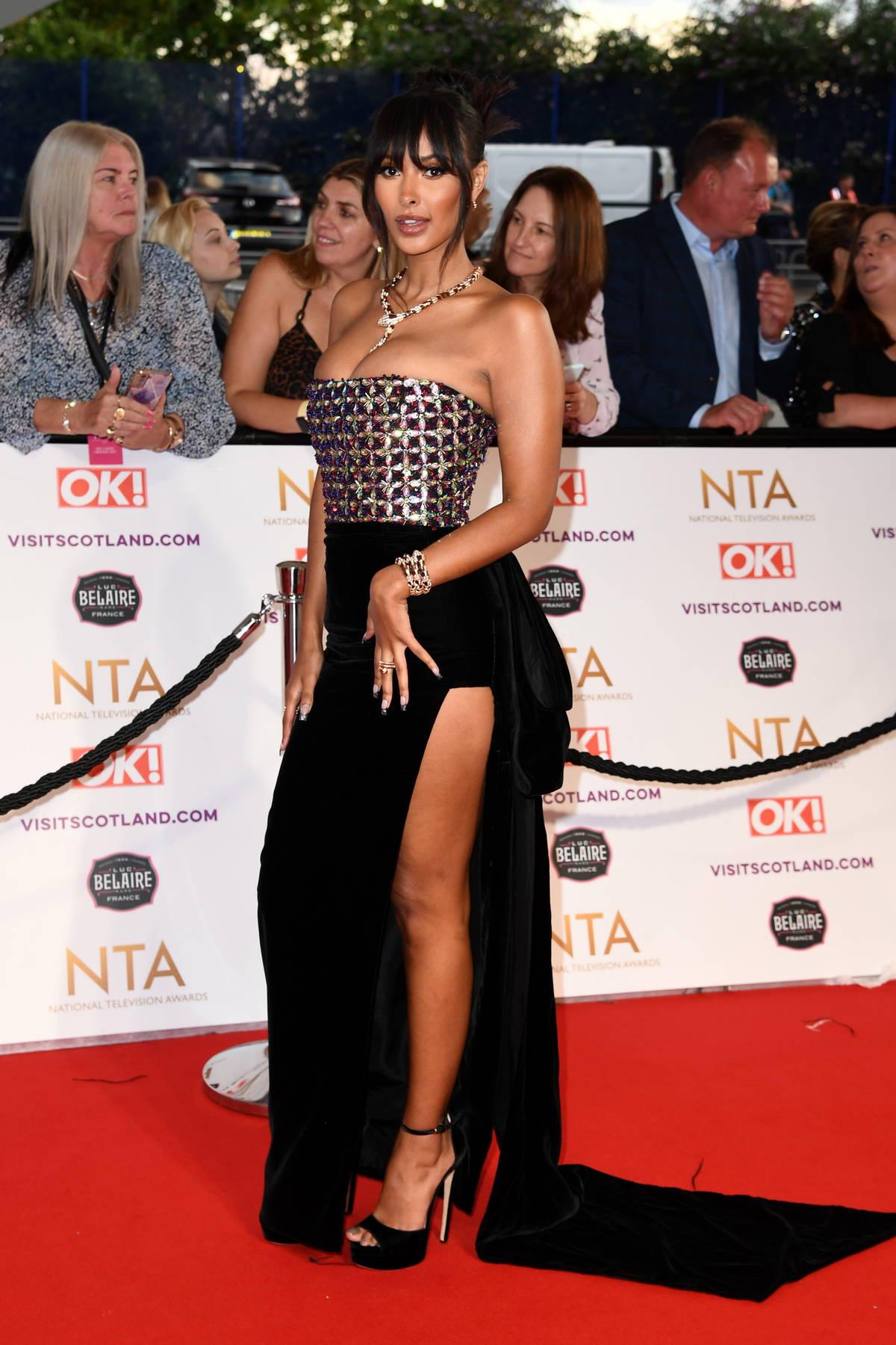 Maya Jama attends the 2021 National Television Awards at The O2 Arena in London, UK