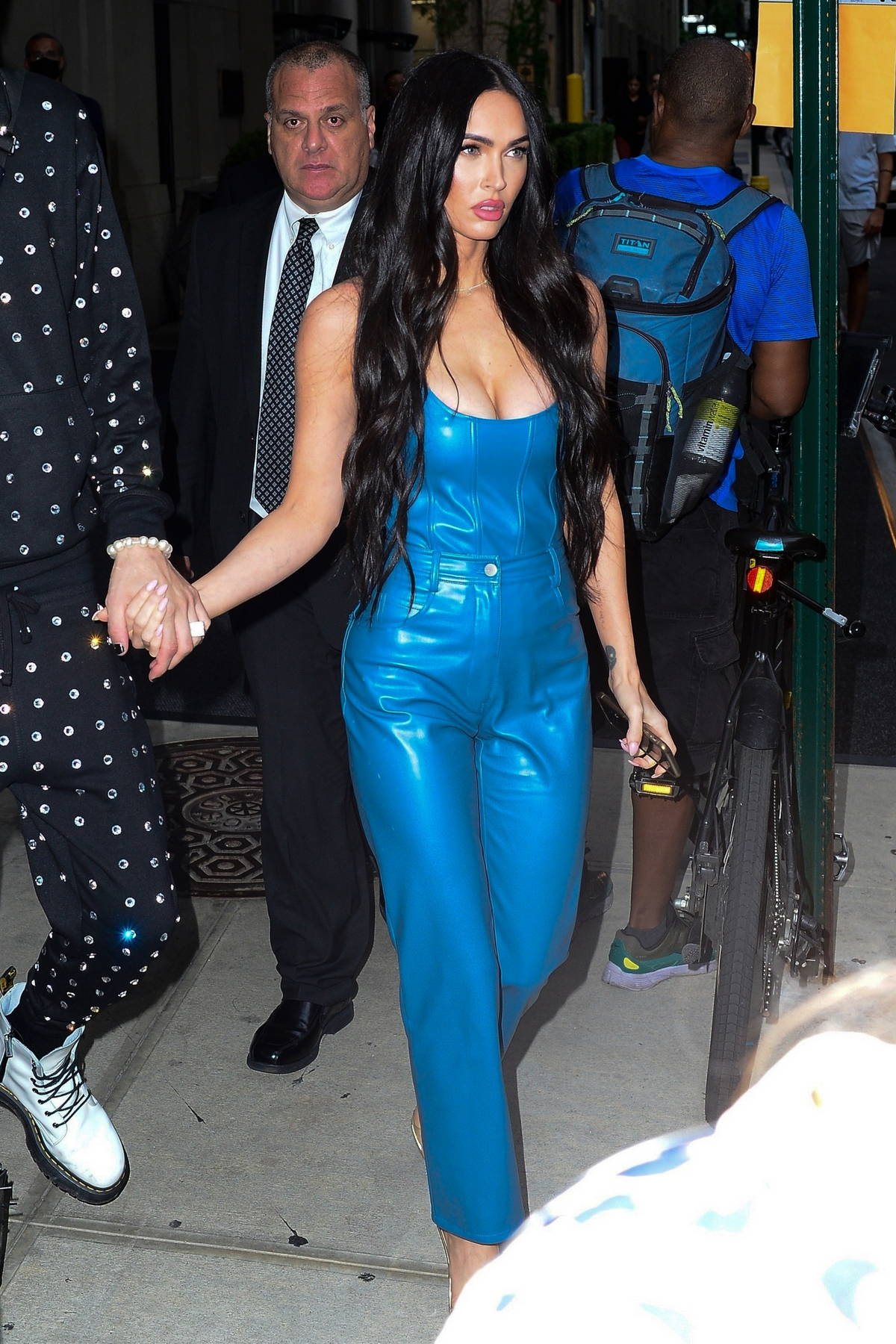Megan Fox looks incredible in a blue leather outfit while heading out with Machine Gun Kelly in New York City