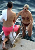Molly Sims spotted in a bikini while enjoying a beach day with husband Scott Stuber during their vacation in Capri, Italy