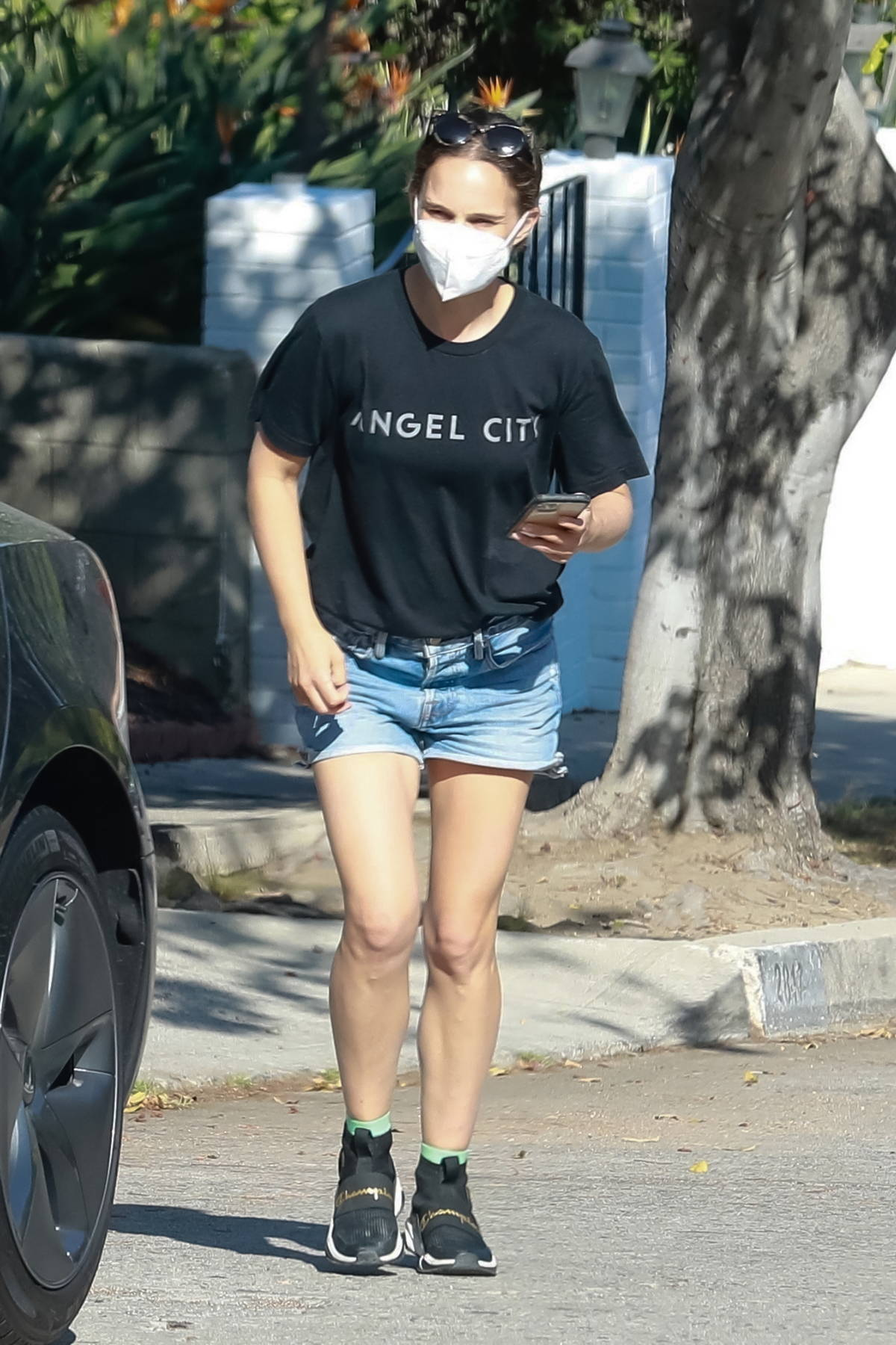 Natalie Portman seen leaving after visiting a friend's house in Los Angeles