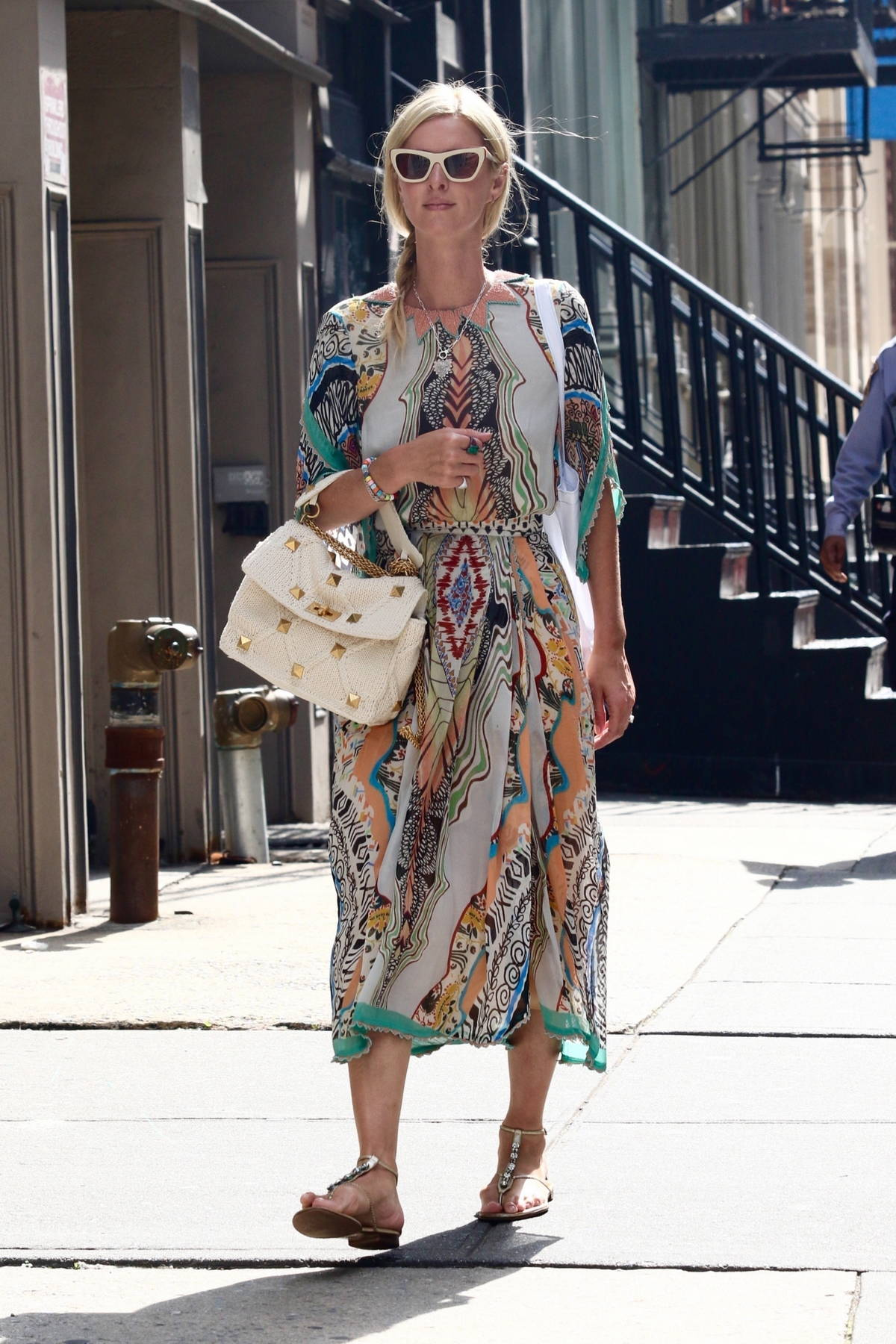 Nicky Hilton looks stylish in a colorful summery dress while out shopping in Manhattan's Soho area, New York City