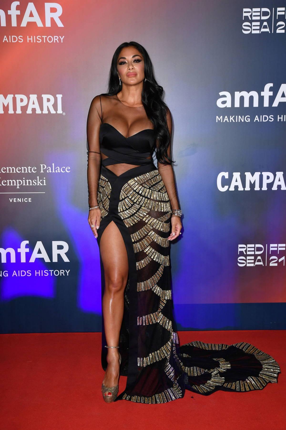 Nicole Scherzinger attends the 2021 amfAR Gala during the 78th Venice International Film Festival in Venice, Italy