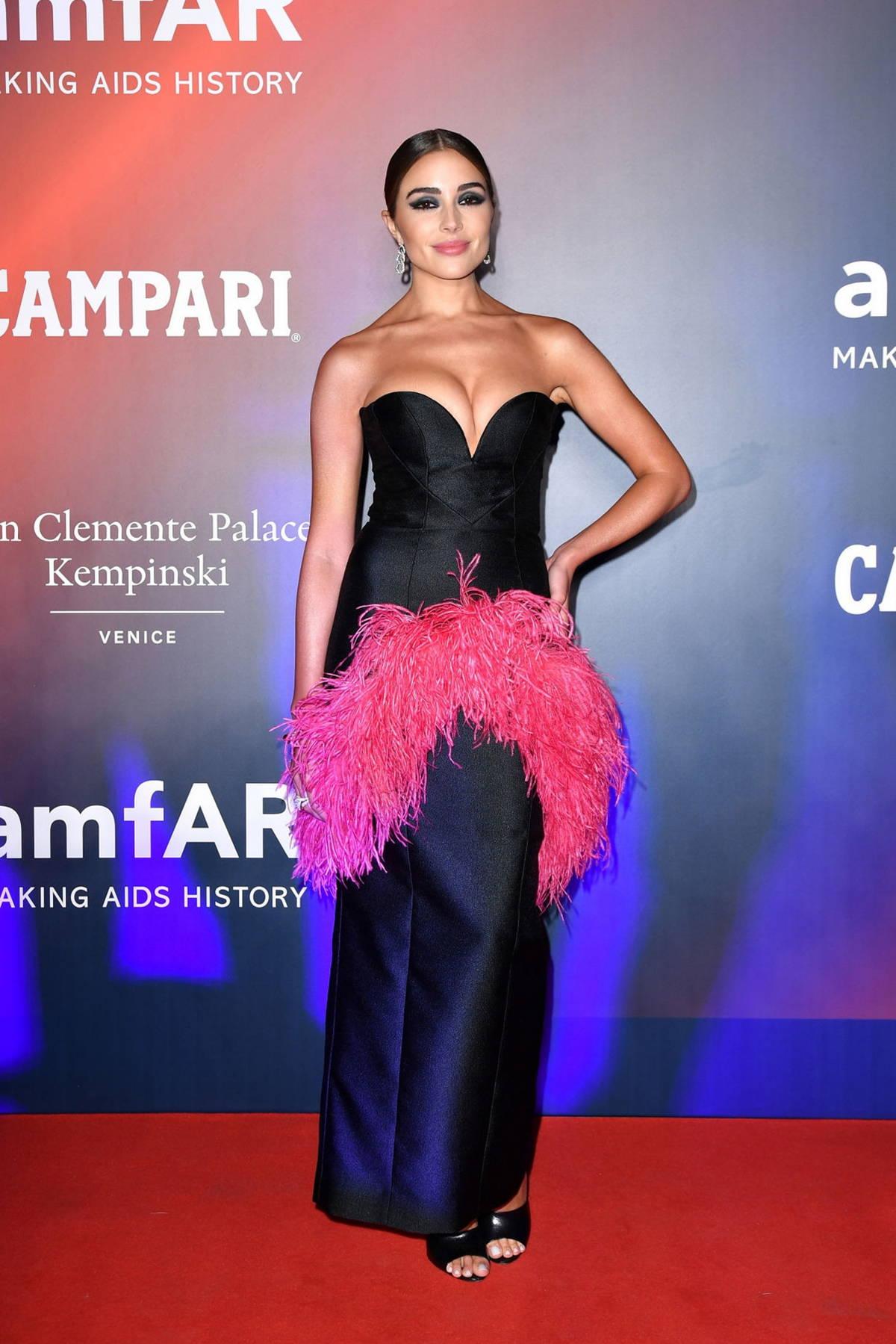 Olivia Culpo attends the 2021 amfAR Gala during the 78th Venice International Film Festival in Venice, Italy