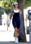 Olivia Culpo looks flawless in a black unitard as she leaves a Pilates class with friends in West Hollywood, California