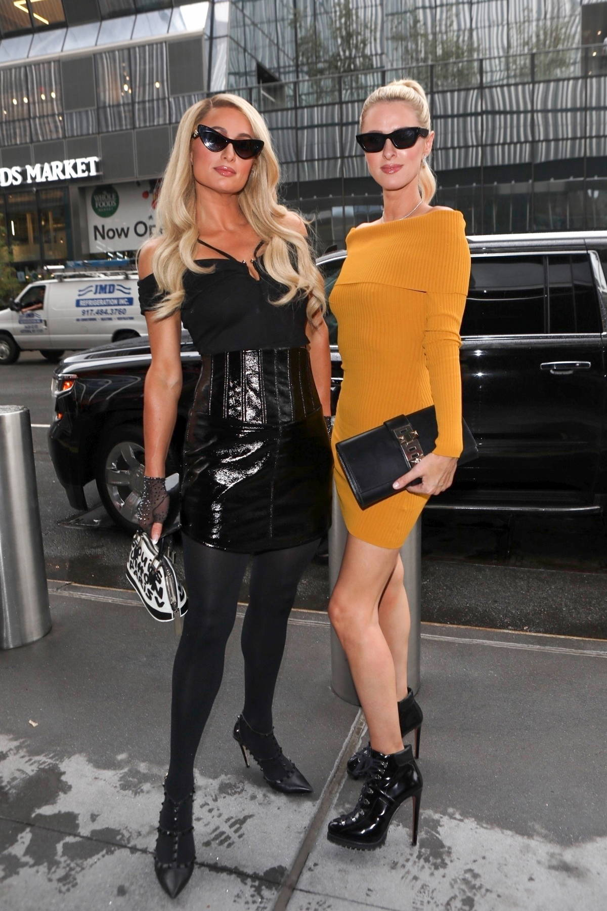 Paris and Nicky Hilton attend the Revolve Gallery inaugural event during New York Fashion Week at Hudson Yards in New York City