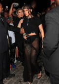 Rihanna seen wearing a sheer black skirt while heading for her Met Gala after-Party at Davide in New York City