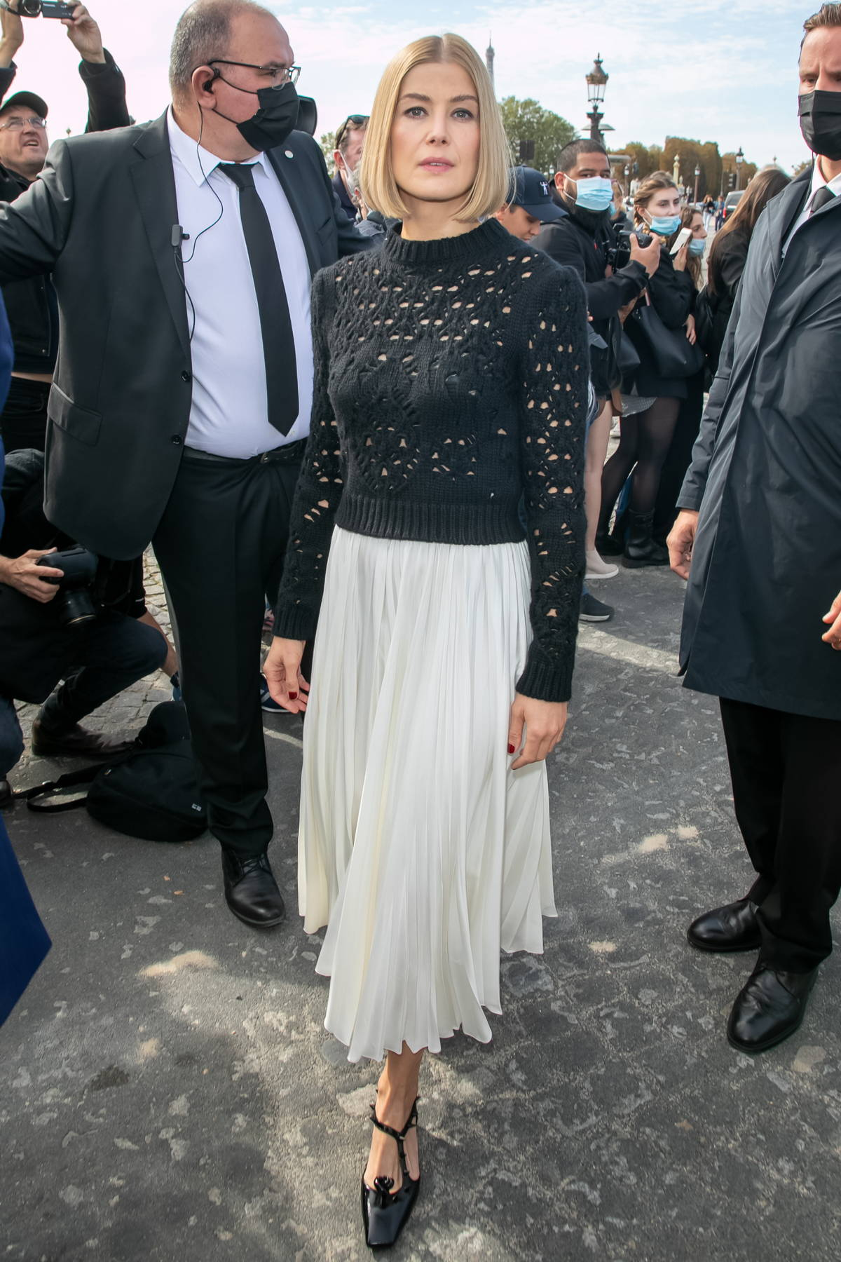 Rosamund Pike attends the Dior SS22 show during Paris Fashion Week in Paris, France