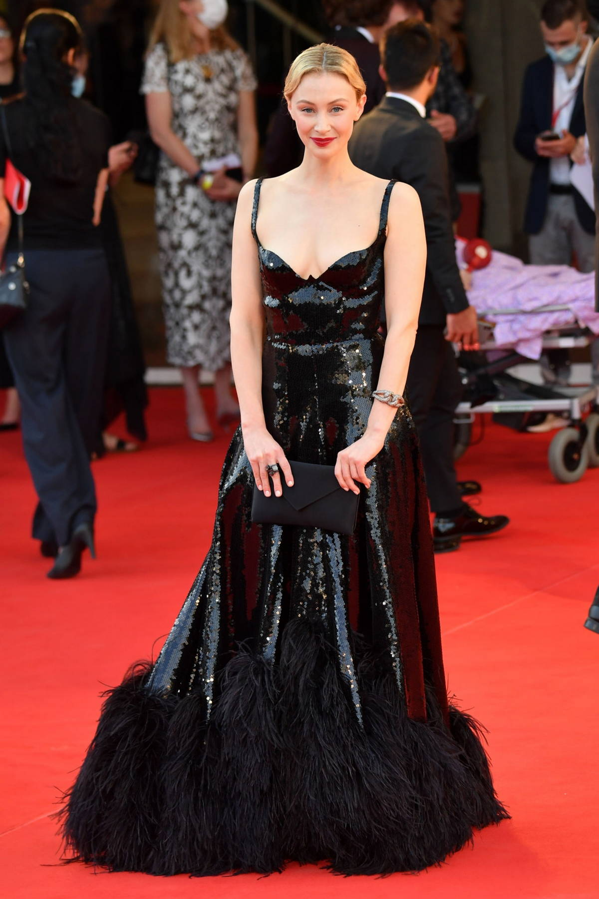 Sarah Gadon attends the Premiere of 'Dune' during the 78th Venice International Film Festival in Venice, Italy