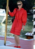Sarah Gadon looks amazing in a red dress while out during the 78th Venice International Film Festival in Venice, Italy