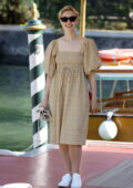 Sarah Gadon looks pretty in a floral print dress while out during the 78th Venice International Film Festival in Venice, Italy
