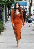 Selena Gomez looks cute in a burnt orange dress while out to lunch at Serendipity 3 in New York City