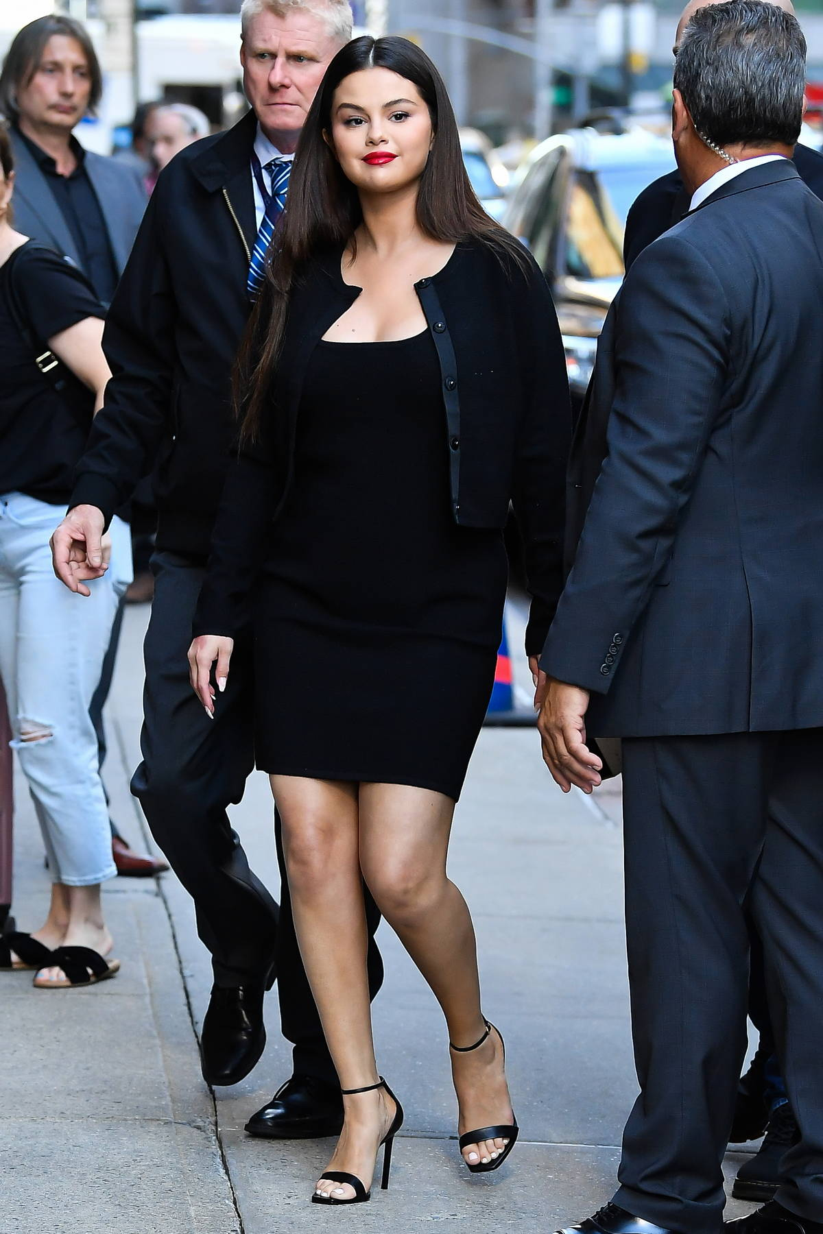 Selena Gomez looks stunning black while she makes an appearance on The Late Show with Stephen Colbert in New York City