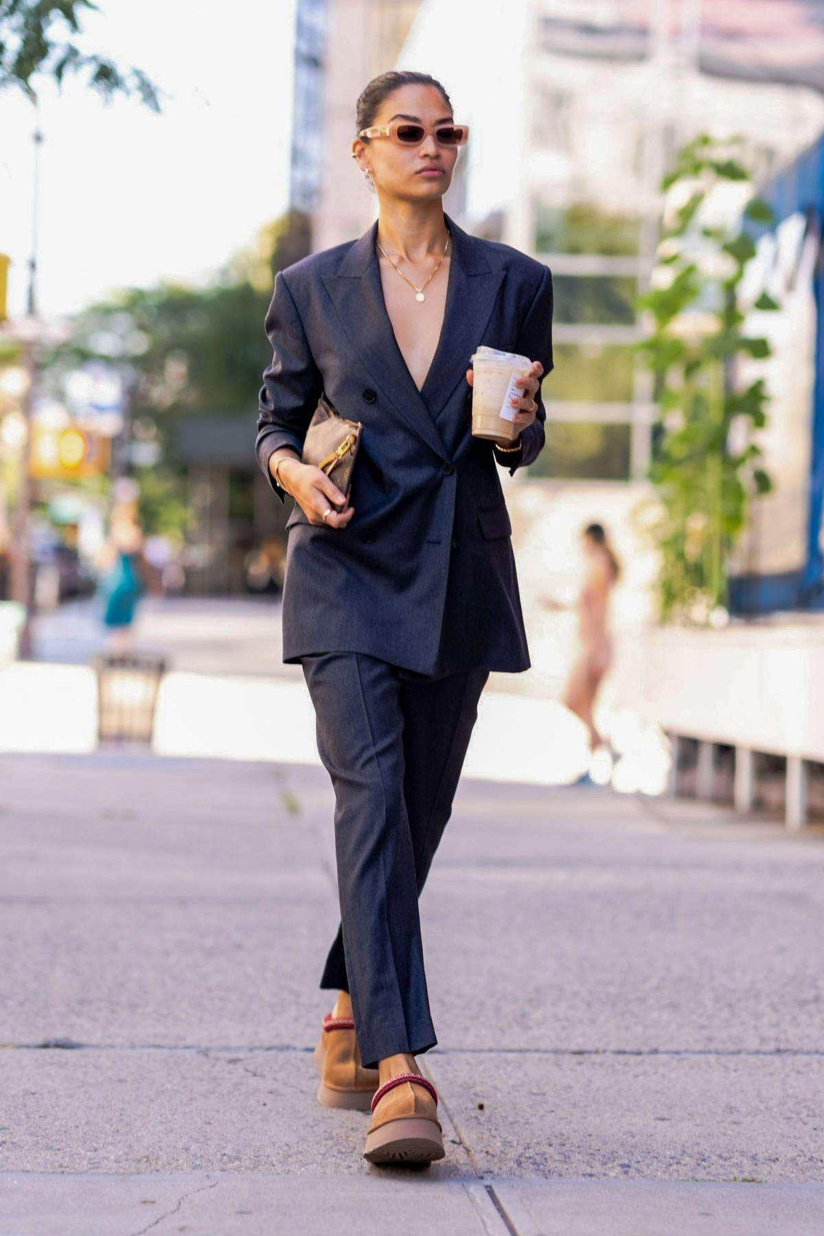 Shanina Shaik looks fashionable in a black suit while stepping out for coffee in SoHo, New York City