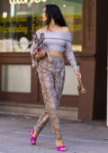 Shanina Shaik looks stylish in snakeskin pants, cropped sweater and pink heels while stepping out with her dog in New York City