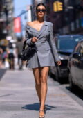 Shay Mitchell looks stunning in a grey blazer dress while stepping out in New York City