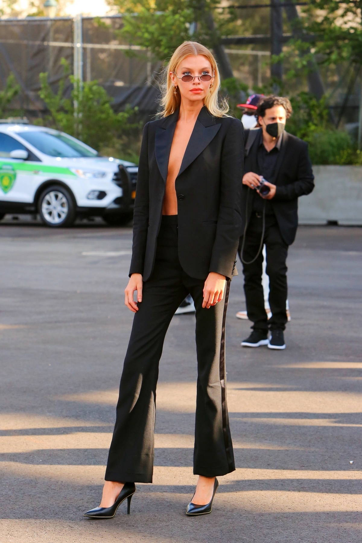 Stella Maxwell attends the Coach Spring-Summer 2022 fashion show during New York Fashion Week in New York City