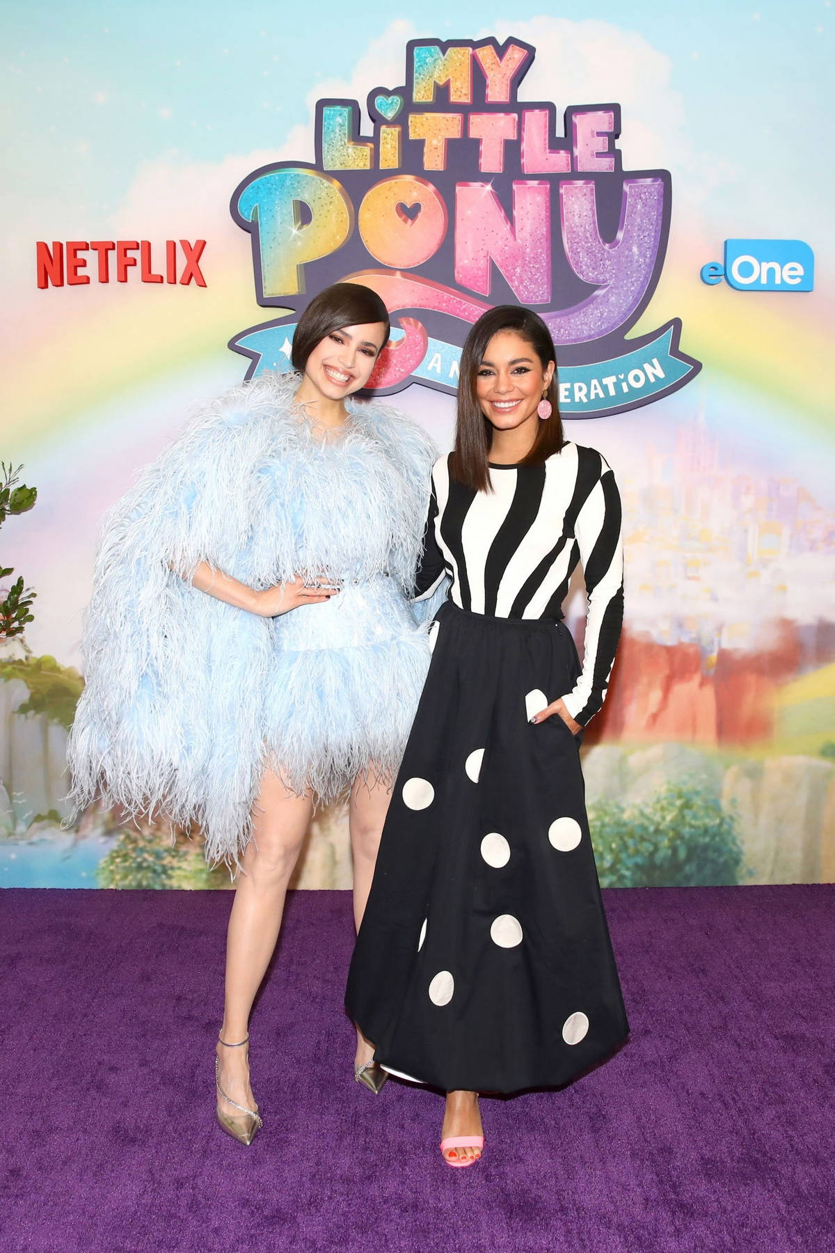 Vanessa Hudgens and Sofia Carson attend a photocall for 'My Little Pony: A New Generation' in Los Angeles