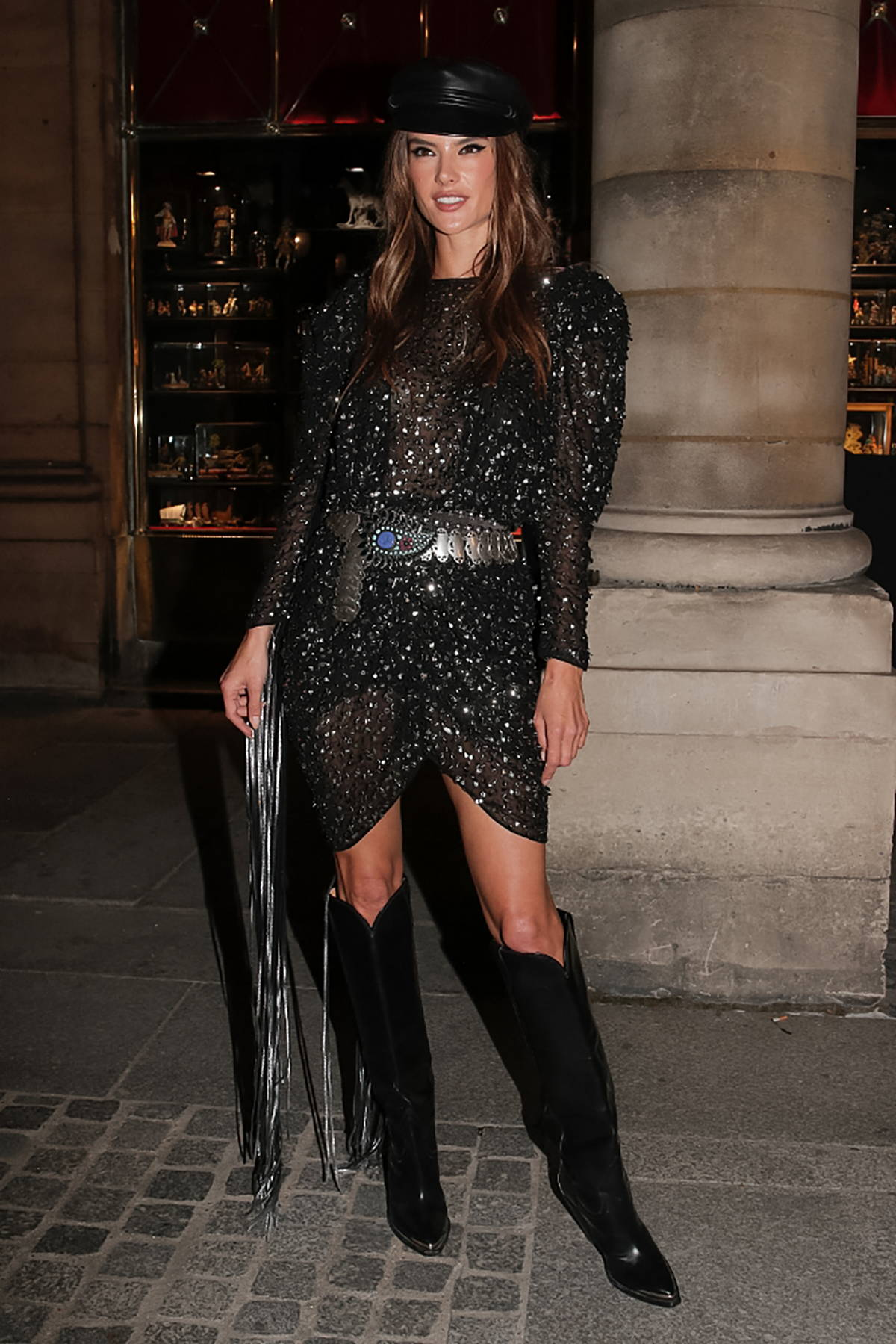 Alessandra Ambrosio attends the Isabel Marant SS22 show during the Paris Fashion Week in Paris, France