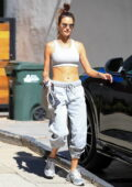 Alessandra Ambrosio bares her washboard abs in a crop top while leaving her Pilates class in West Hollywood, California