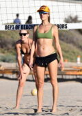 Alessandra Ambrosio displays her incredible figure during a beach volleyball game with friends in Santa Monica, California