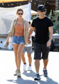 Alessandra Ambrosio displays her supermodel legs in denim shorts while out to lunch in Venice Beach, California