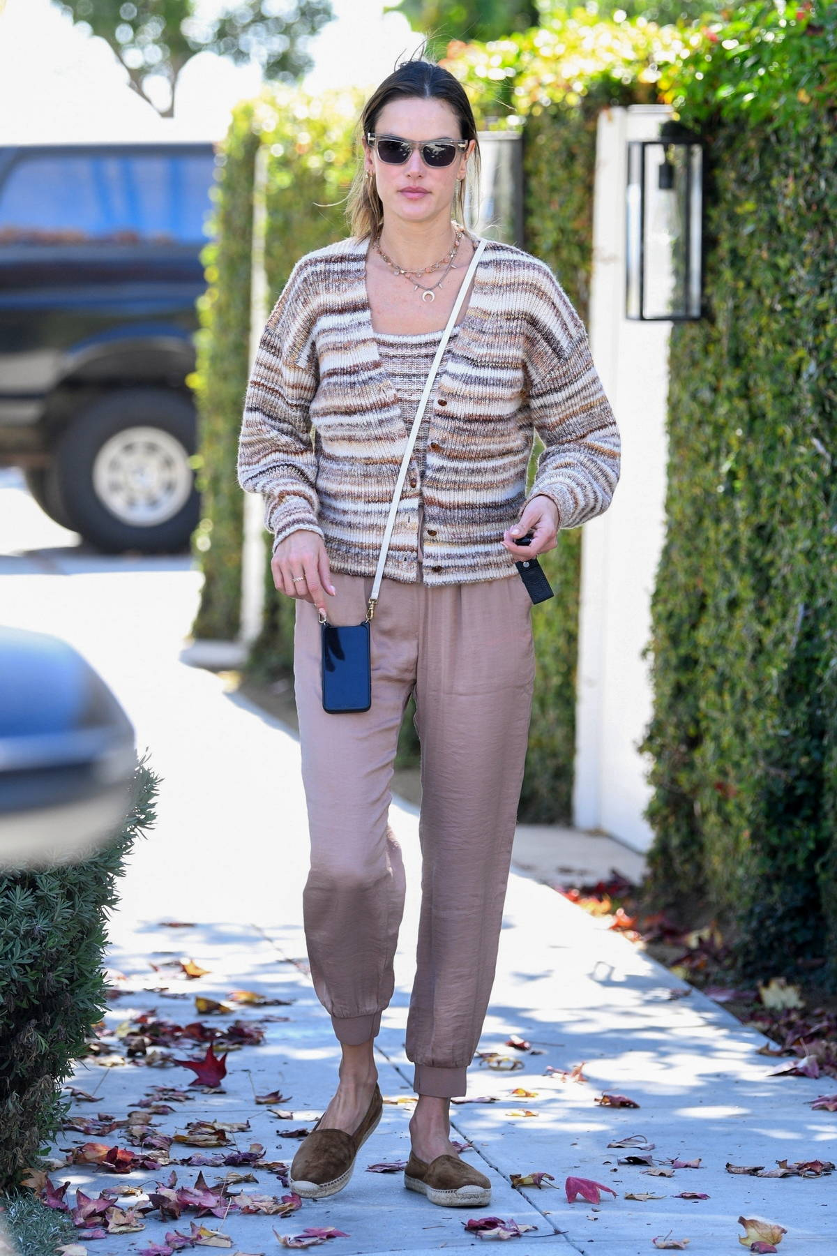 Alessandra Ambrosio keeps things casual while out shopping for a gift in Brentwood, California